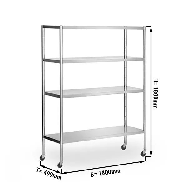 stainless steel shelf 1 8 x 0 5 m with 4 shelves adjustable incl 4 wheels