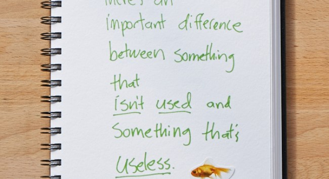 Secret of Adulthood: There's an Important Difference Between Something that Isn't Used and Something That's Useless.