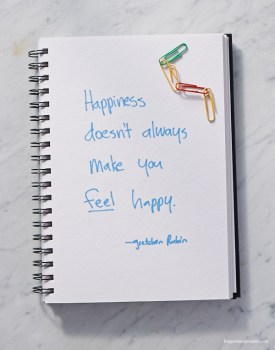 Happiness doesn't always make you feel happy.