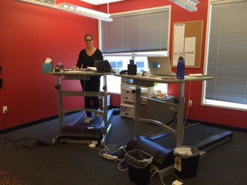 Elizabeth on her treadmill desk! The best gift I've ever given anyone.