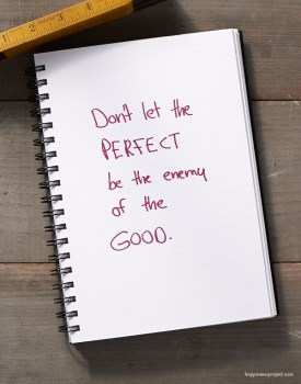 Don't let the PERFECT be the enemy of the GOOD.