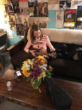 Practicing the ukulele before our live show in Minneapolis
