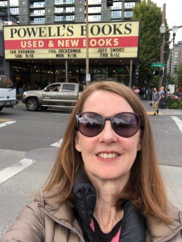Before our live show at Powell's Books in Portland, OR