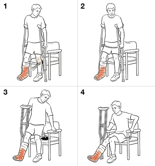 Step-by-Step: Sitting with Crutches (Non-Weight Bearing