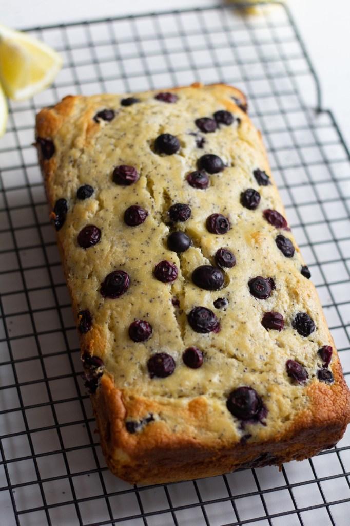 Healthier Blueberry Lemon Poppy Seed Bread with Cream Cheese