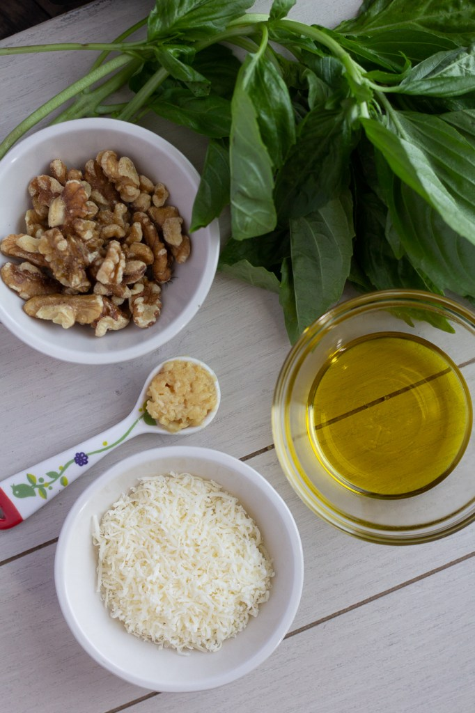 Ingredients for homemade walnut pesto: walnuts, garlic, extra virgin olive oil, fresh basil and parmesan cheese