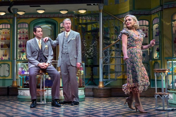 "PHOTO MOVED IN ADVANCE AND NOT FOR USE - ONLINE OR IN PRINT - BEFORE MARCH 6, 2016. -- From left: Zachary Levi, Byron Jennings and Jane Krakowski in ""She Loves Me"" in New York, Feb. 19, 2016. The musical tells the story of two feuding perfume-shop employees who find epistolary romance as unknowing pen pals. (Sara Krulwich/The New York Times)"