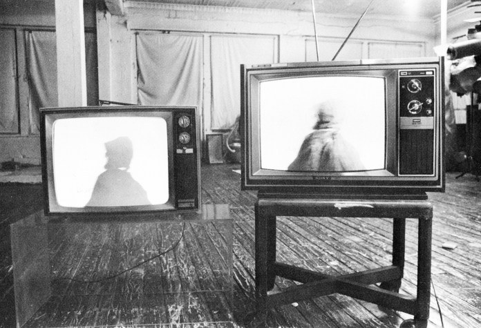 Installation view of Free, White and 21, in Dialectics of Isolation: An Exhibition of Third World Women Artists of the United States, in 1980.