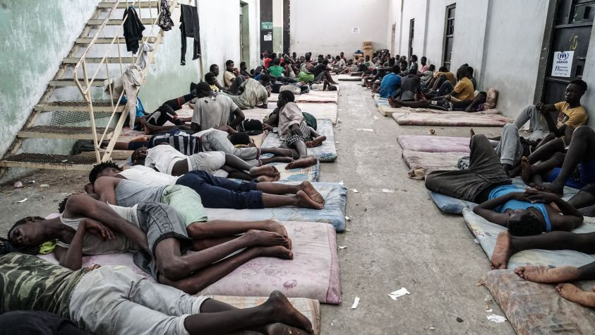 Illegal immigrants are seen at a detention centre in Zawiyah, 45 kilometres west of the Libyan capital Tripoli, on June 17, 2017.