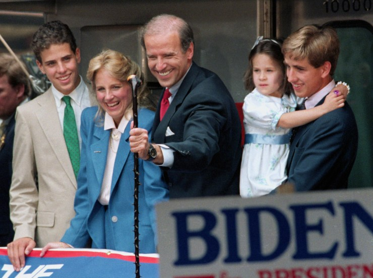 The Bidens on a train to Washington after Joe announced his presidential campaign in 1988. Pictured with Hunter (left), Ashley (right) and Beau (far right).