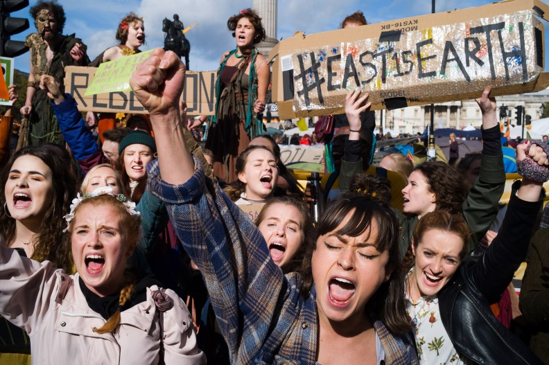 EUROPE: Young protesters with Extinction Rebellion take to the streets of London in October