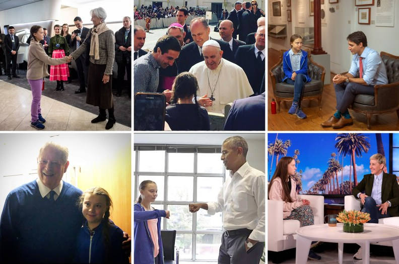 Thunberg has urged leaders and influencers to commit to climate action. She has met with Christine Lagarde, the Pope and Canadian Prime Minister Justin Trudeau, Al Gore, President Barack Obama and appeared on Ellen