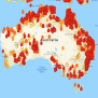 Australia Bush Fire Map Fires Rage Outside Every Major