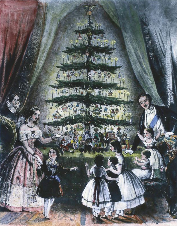 Illustrations of Queen Victoria and Prince Albert and their children gathered around their Christmas tree helped popularize this tradition in the U.S.