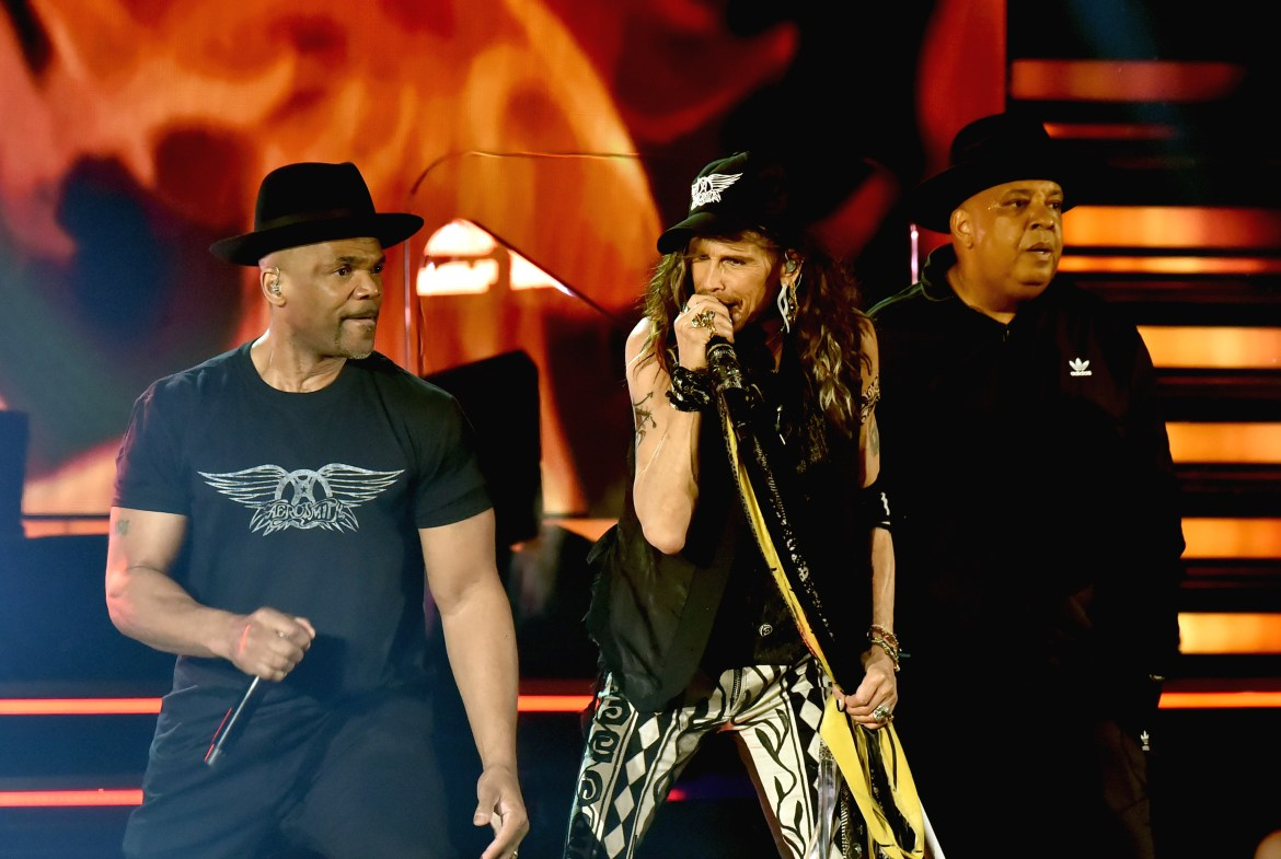Steven Tyler of Aerosmith (C) with Darryl McDaniels and Joseph Simmons of Run-DMC perform during the 62nd Annual GRAMMY Awards on January 26, 2020 in Los Angeles, California.