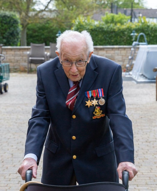A family handout photo of Tom Moore, a 99-year-old British veteran who has started a campaign to thank the National Health Service by walking lengths in his garden.