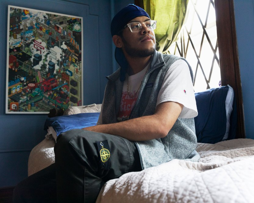Joshua McCaw, Drexel University Class of 2020, in his childhood bedroom in Brooklyn
