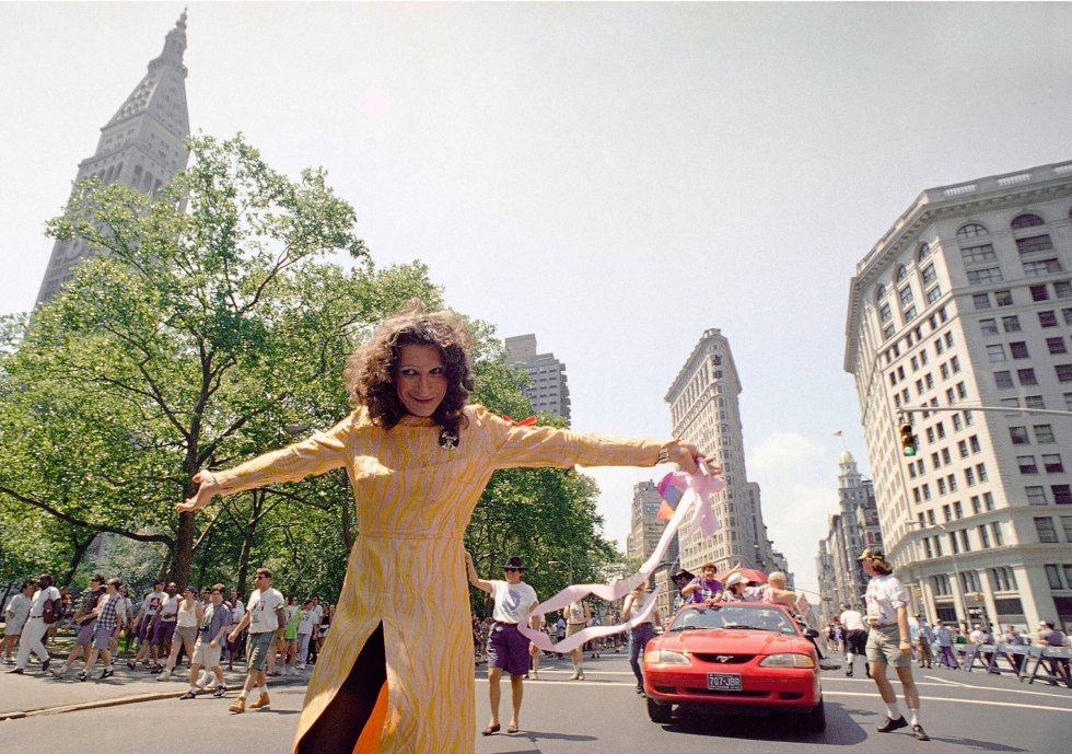 Sylvia Rivera leads an ACT-UP march past Union Square in New York, on June 26, 1994.