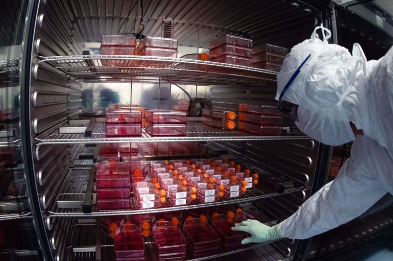 A lab technician performs tests on vaccine candidates at Sanofi's laboratory in Val de Reuil, France on July 10.
