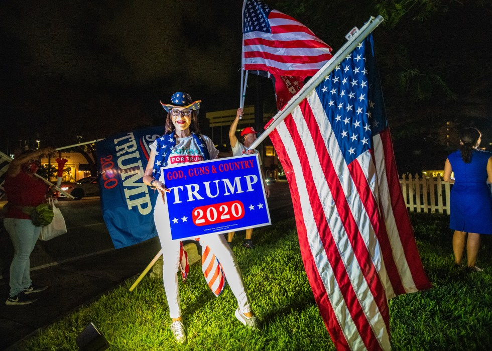 A supporter of President Trump poses for a photograph in Miami on Nov. 7.