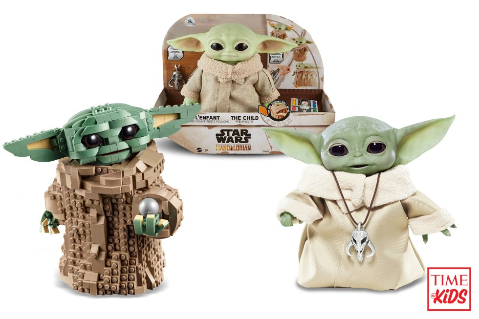 Three pictures of baby yoda for toy guide.