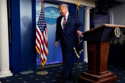 President Donald Trump leaves the podium after speaking at the White House on Nov. 5, 2020.