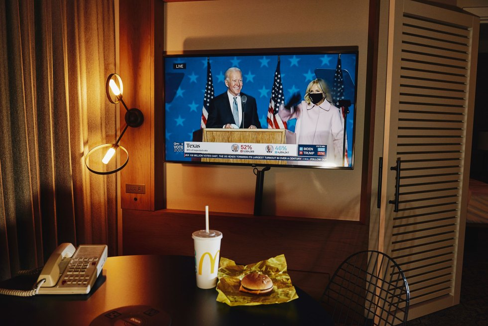 Dinner in a hotel room watching former Vice President Joe Biden and Dr. Jill Biden on Nov. 3 as election results began to stream in.
