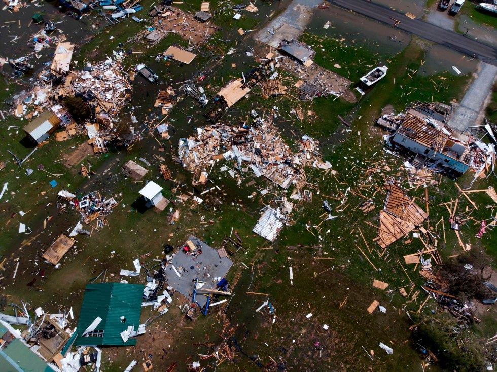 Damage to a neighborhood by Hurricane Laura outside of Lake Charles, La., on Aug. 27, 2020.