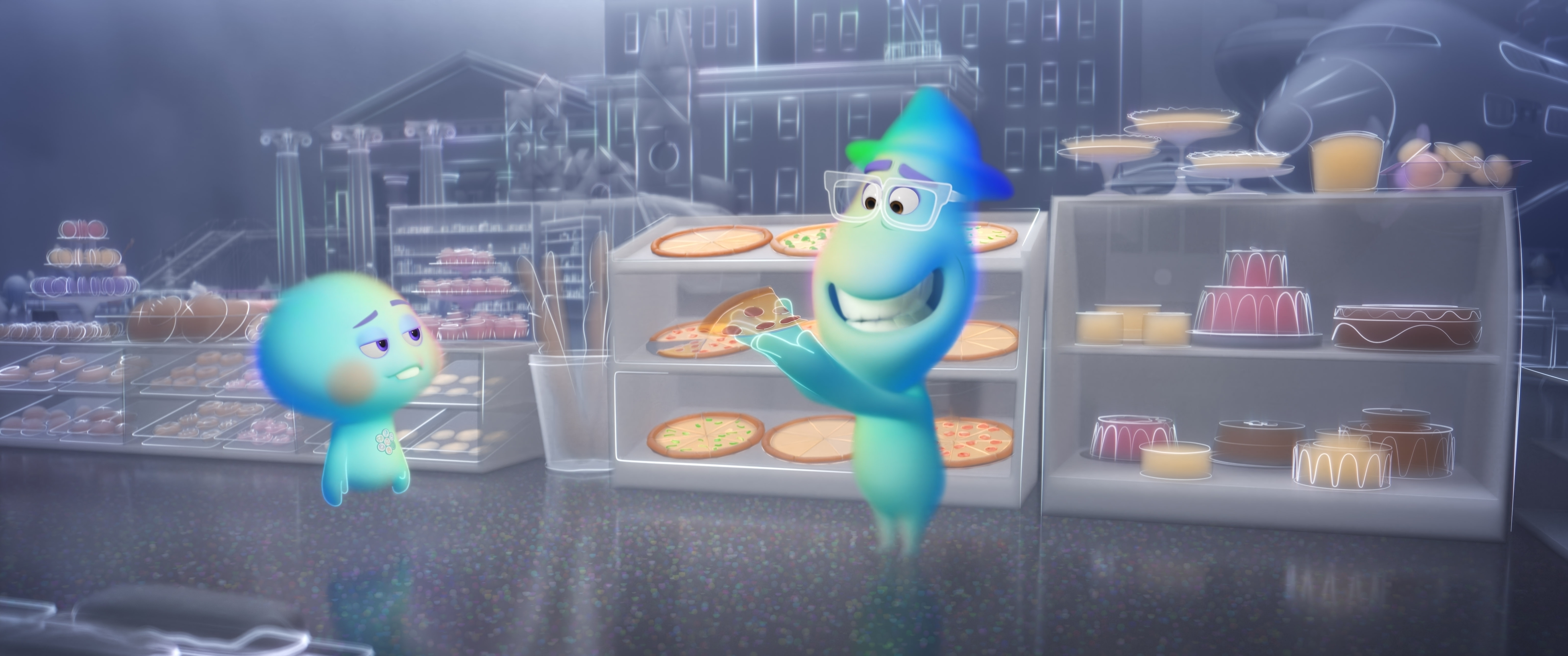 22, voiced by Tina Fey, teaching newcomer Joe that pizza's just not the same when you lack a corporeal form