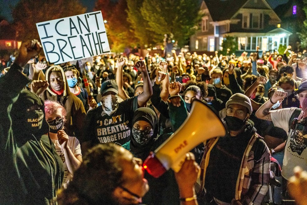 Protesters demonstrate after the release on bail of former police officer, Derek Chauvin, in Minneapolis, Oct. 7.