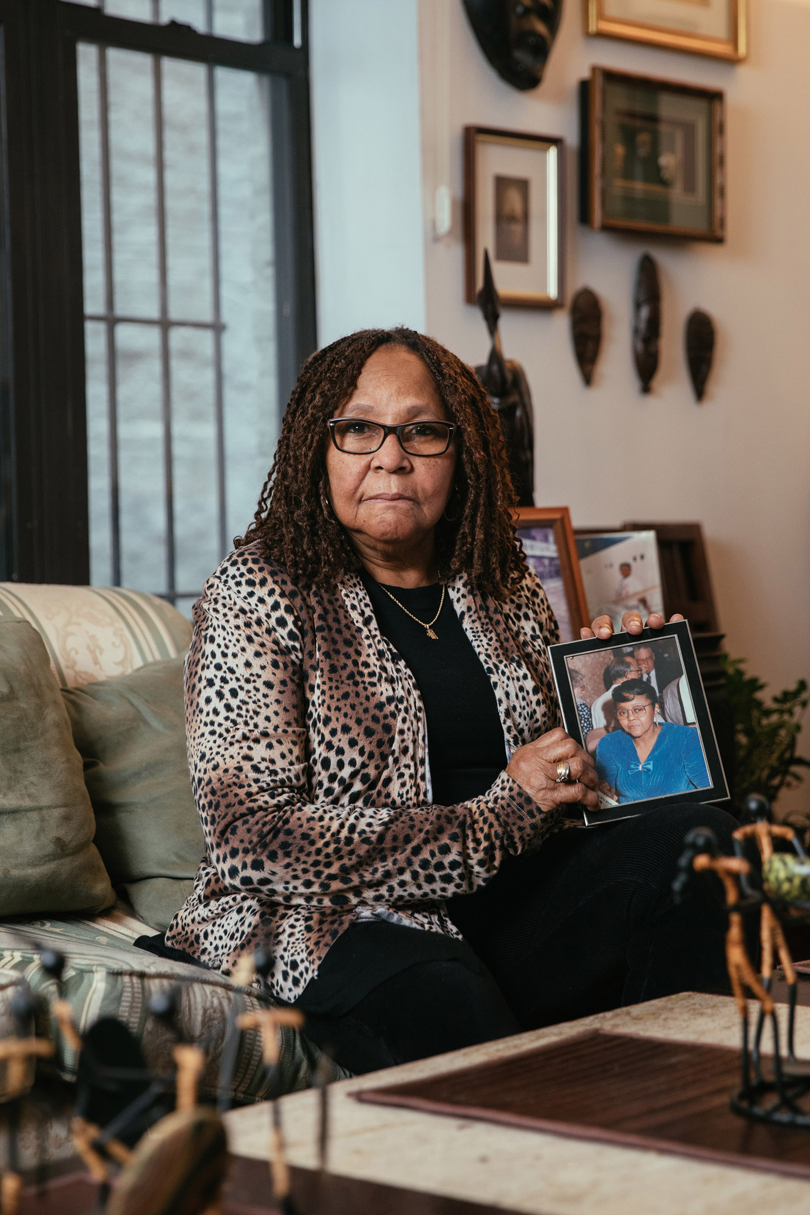 Eleanor Leonard holds a photograph of her aunt, Janie Marshall, at home in Brooklyn, New York on Feb. 15, 2021.
