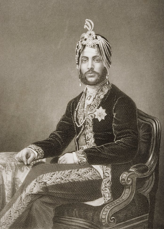 Duleep Singh, Maharajah of Lahore, 1837-1893. Engraved by D.J. Pound from a photograph by Mayall. From the book  The Drawing-Room Portrait Gallery of Eminent Personages  Published in London 1859.