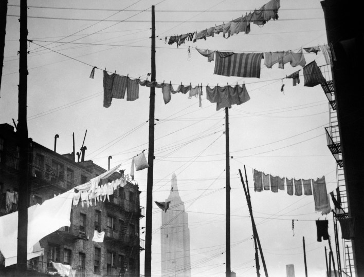 A view of the Empire State Building through clothes lines in New York City, Aug. 28, 1931.