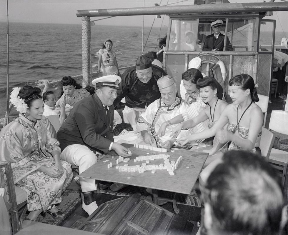 Robert Ripley and Guests Playing Mah Jong on His Yacht