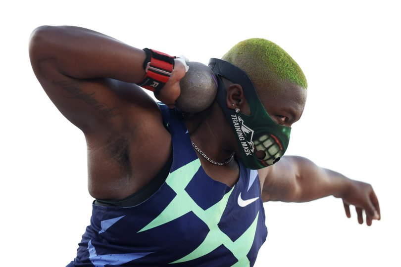 Raven Saunders competes in the Women's Shot Put Finals on day seven of the 2020 U.S. Olympic Track and Field Team Trials in Eugene, Oreg. on June 24, 2021.