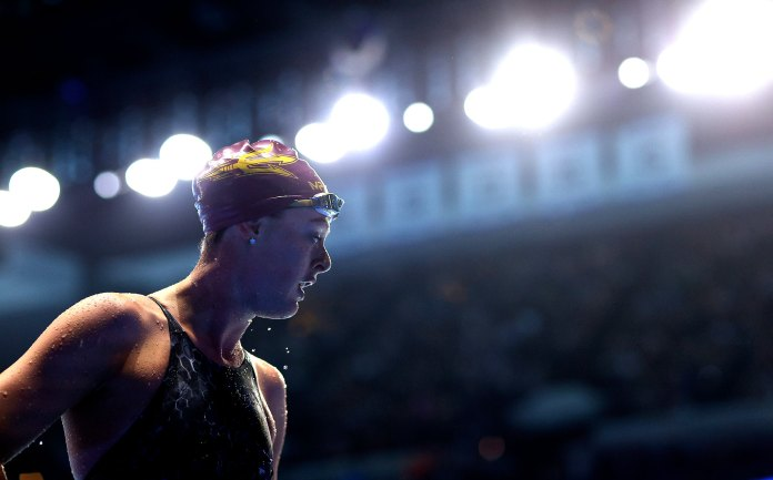 Allison Schmitt of the United States competes in a semifinal heat for the Women's 100m freestyle during Day Five of the 2021 U.S. Olympic Team Swimming Trials in Omaha, Nebr. on June 17, 2021.