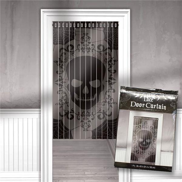 skull lace door curtain