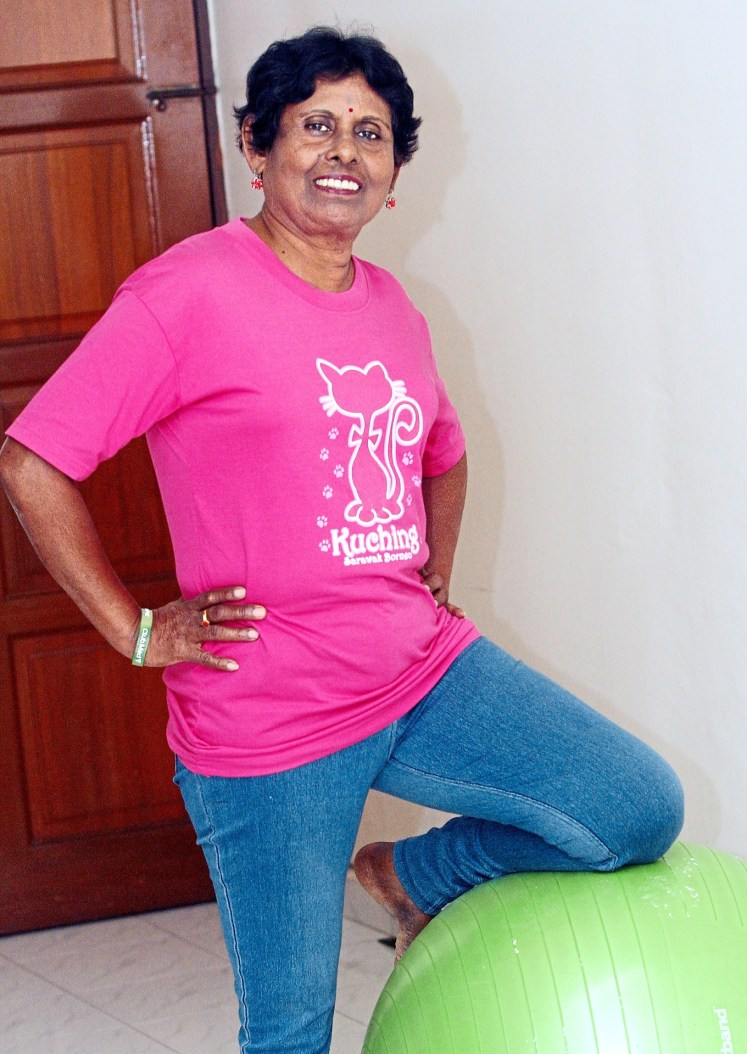 Tulasi's secret to living with cancer is to keep fit by exercising. — AZLINA ABDULLAH/The Star