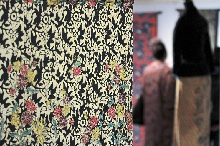 Batik sarong from Kelantan, using block, hand painted and cracks technique at the 'Sulaiman Ghani: Malaysian Textile Art Activist Exhibition' at the National Textile Museum in Kuala Lumpur. Photo: Yap Chee Hong/The Star