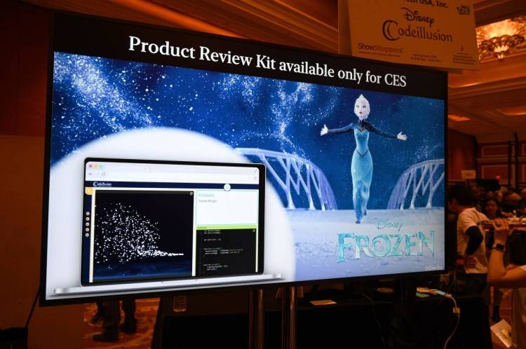 A display advertises Disney Codeillusion, an interactive learning program that teaches users to code with the help of favourite Disney movies such as 'Frozen', at CES. The program is available for US$1,900. — AFP