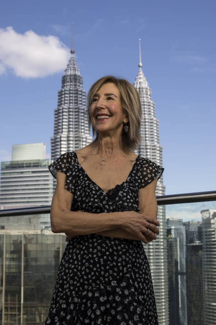 Lin Shaye pictured in front of the Petronas Twin Towers while promoting her new film 'The Grudge' in Kuala Lumpur. Photo: AP