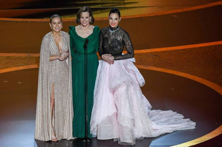 (From left) Brie Larson, Sigourney Weaver and Gal Gadot.