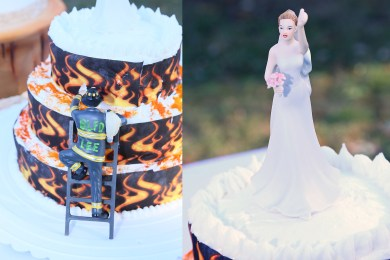 #firefighterweddingcake, #njwedding, #weddingphotos, #bridecaketopper, #firefightercaketopper