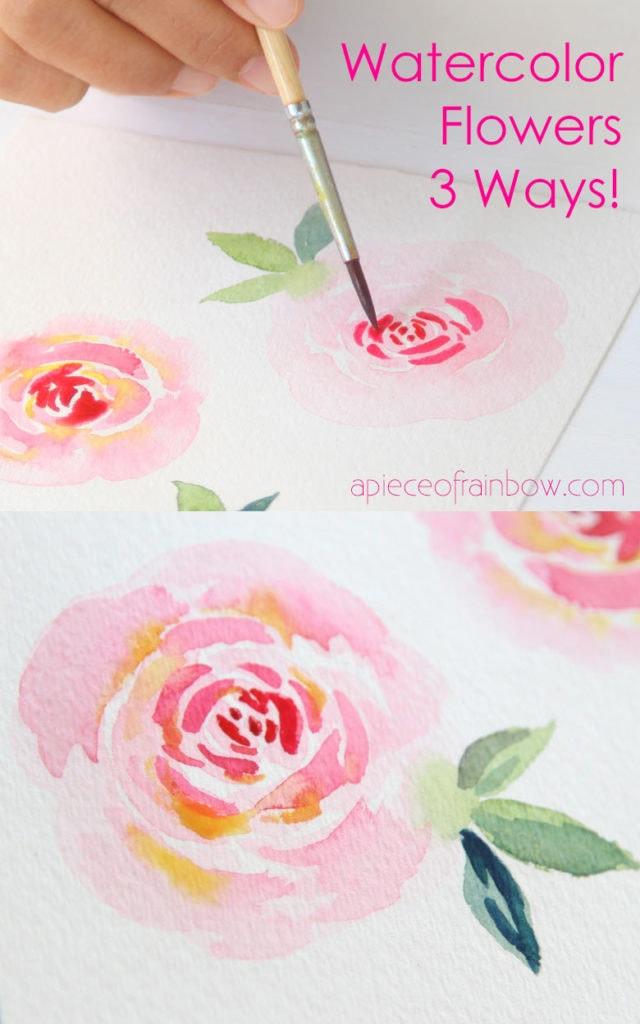 Watercolor Ideas Easy Flowers : watercolor, ideas, flowers, Paint, Beautiful, Watercolor, Flowers, Minutes, Piece, Rainbow