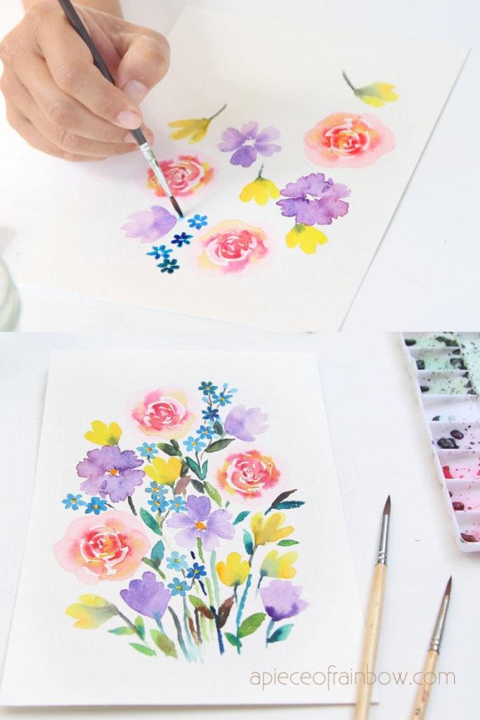 Watercolor Ideas Easy Flowers : watercolor, ideas, flowers, Minute, Beautiful, Watercolor, Flower, Painting, Tutorial, Piece, Rainbow