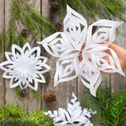 Make 3D Paper Snowflakes: 3 Free Templates! A Piece Of