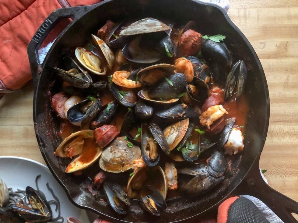 seafood chorizo pasta