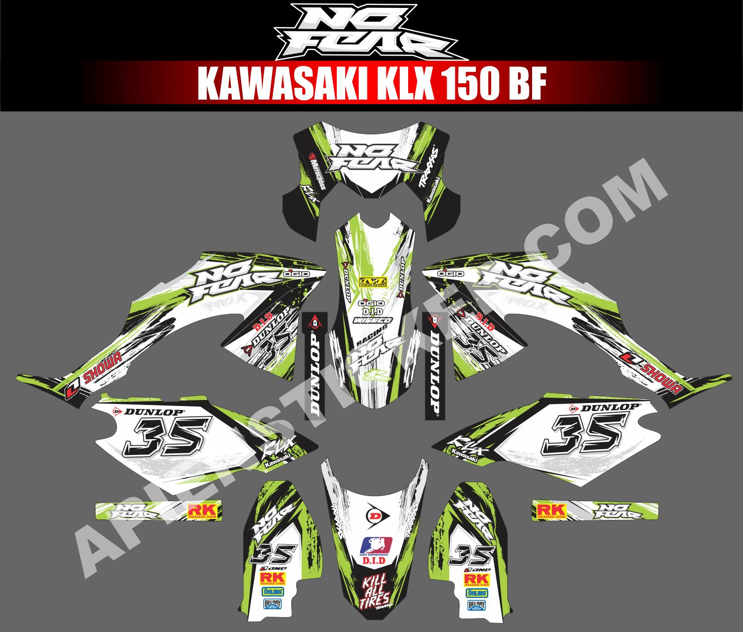 Striping Motor Kawasaki KLX BF 150 No Fear  Apien Sticker