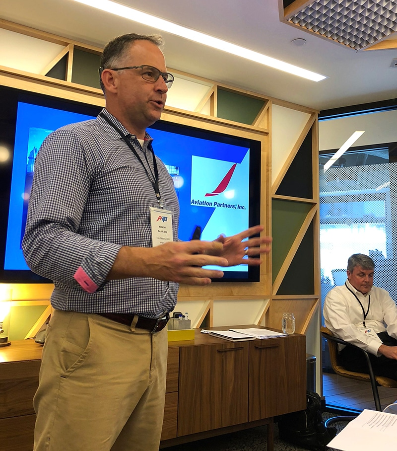 Caption: Myself (standing) and CEO John Schramm (seated) introduced our Smart Aircraft™ data service to Seattle, technology and aviation reporters during APiJET's Media Day.