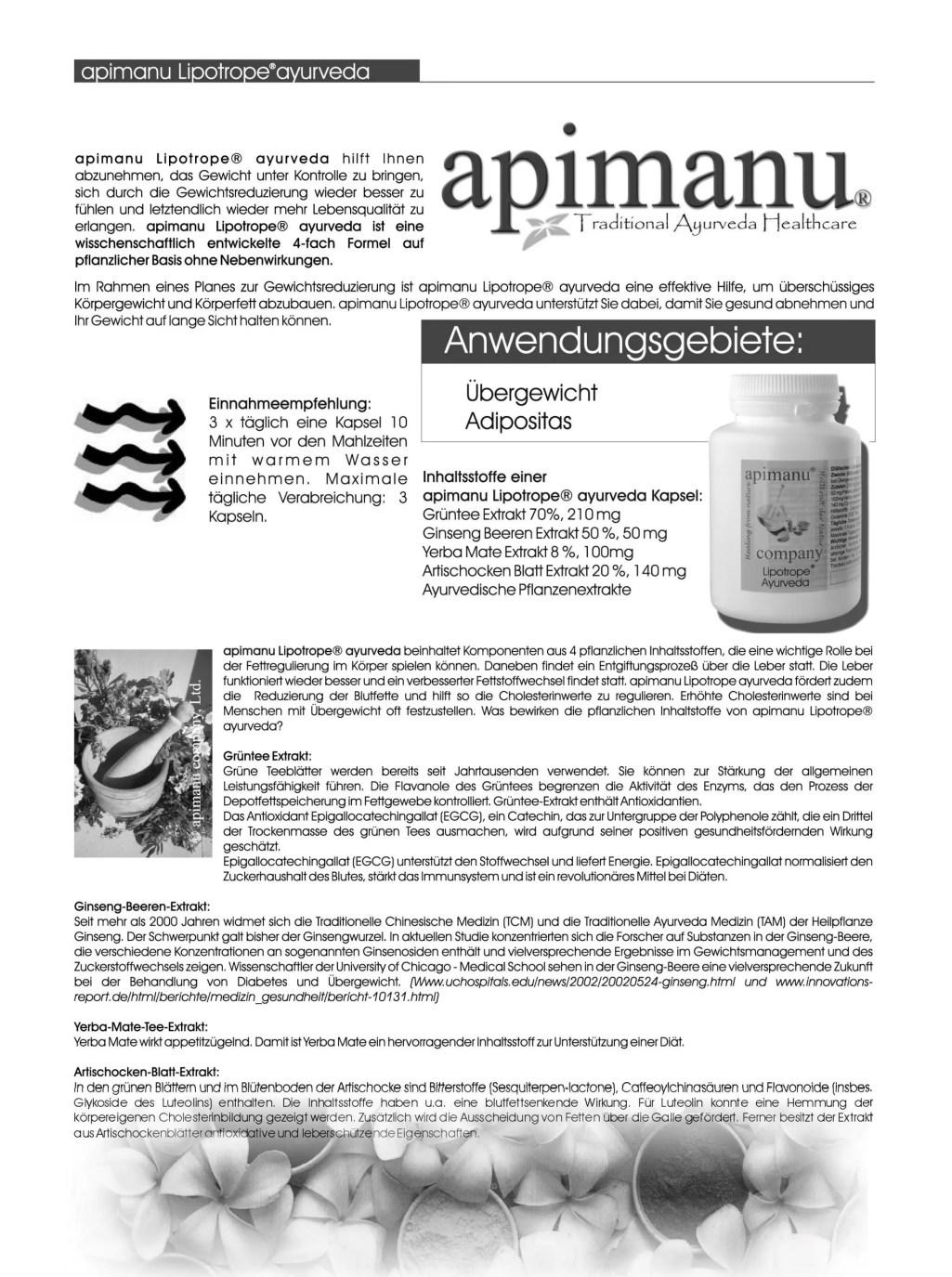 apimanu Lipotrope Produktbeschreibung